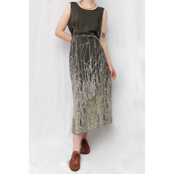 Haki Vintage Elbise (B050)