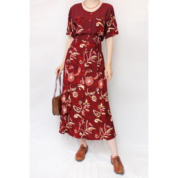 Floral Desenli Vintage Elbise (B053)