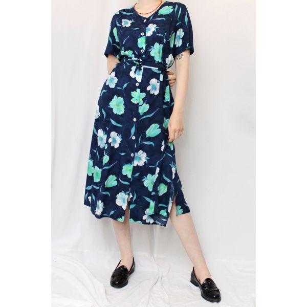 Çiçek Desenli Vintage Elbise (B055)