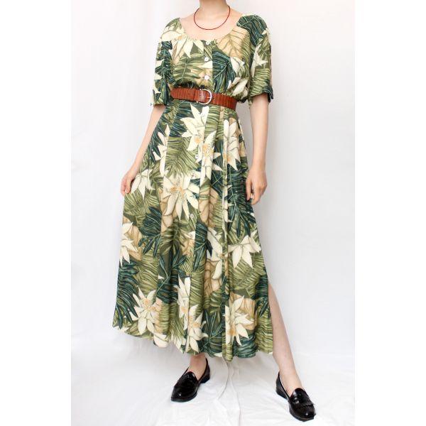 Yaprak Desenli Vintage Elbise (B056)
