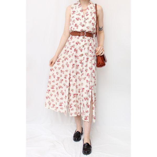 Kruvaze Yaka Vintage Elbise (B057)