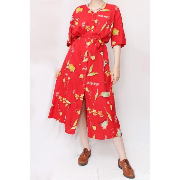 Kırmızı Vintage Elbise (B058)