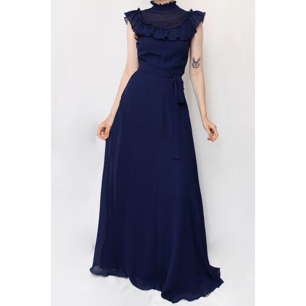 Lacivert Maxi Vintage Elbise (B062)