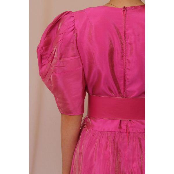 80'ler Balon Kol Vintage Elbise (B063)