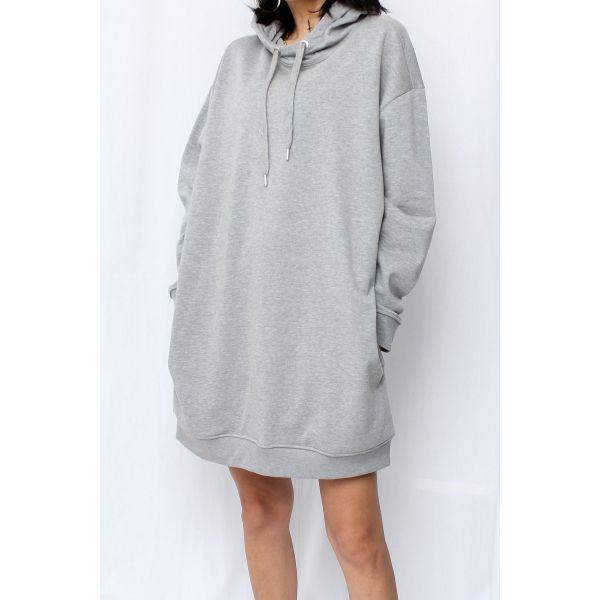 Kapüşonlu Gri Uzun Sweatshirt (F044)