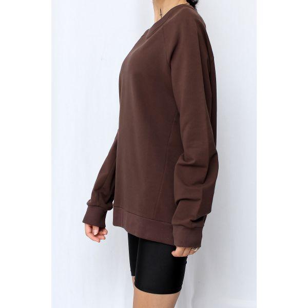 Unisex Kahverengi Sweatshirt (F046)